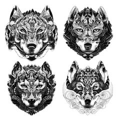 wolf face collection. private commission 2013 Ink Iain Macarthur