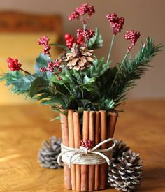 #DIY cinnamon stick centerpiece. How wonderful this must smell!