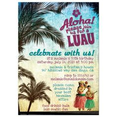 Hawaiian Luau adult party invitation. Great for a birthday or any other occasion…