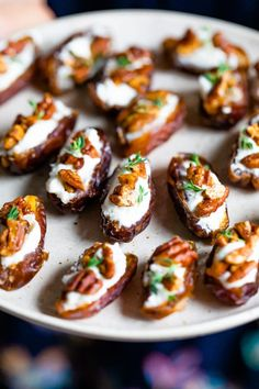 These sweet and savory goat cheese stuffed dates topped with roasted pecans and fresh thyme are a quick and easy appetizer that everyone will love. Date Recipes, Quick Recipes, Whole Food Recipes, Cooking Recipes, Quick And Easy Appetizers, Quick Easy Meals, Roasted Pecans, Candied Pecans, Parchment Paper Baking