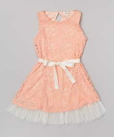 Look at this Monteau Girl Coral & Periwinkle Lace Skater Dress on #zulily today!