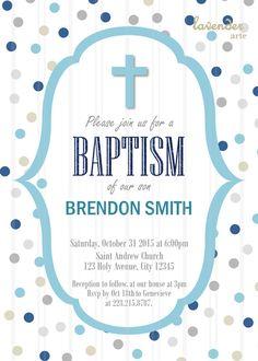 Navy Gray Baby Boy BAPTISM Invitation Blue Grey by LavenderArte