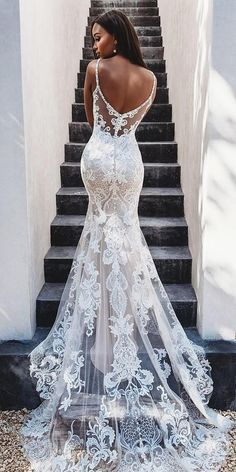 36 Lace Wedding Dresses That You Will Absolutely Love ❤ lace wedding dresses trumpet with spaghetti straps low back with train allurebridals Gorgeous Embroidered Off Shoulder Mermaid Wedding Dress Wedding Dress Gallery, Wedding Dress Trends, Sexy Wedding Dresses, Bridal Dresses, Sexy Dresses, Backless Wedding, Summer Dresses, Modest Wedding, Pretty Dresses