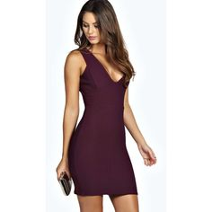 Boohoo Callie Textured Plunge Neck Bodycon Dress (1,500 PHP) ❤ liked on Polyvore featuring dresses, boohoo, purple bodycon dress, plunging neckline cocktail dress, stretch bodycon dress, plunging neckline bodycon dress and bodycon tube dress