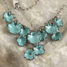 Clustered Cup Copper Enamel Necklace Robins Egg Blue