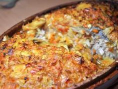 Crap la cuptor, cu ghiveci de legume Crap, Pastry Cake, Quiche, Macaroni And Cheese, Food And Drink, Fish, Breakfast, Ethnic Recipes, Canning