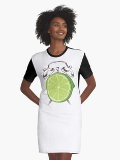 'Lime Time' Graphic T-Shirt Dress by Adrian Razvan Petcu Time Clock, Shirt Dress, T Shirt, Natural Health, Chiffon Tops, Designer Dresses, Lemon, Fruit, Abstract