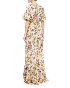 TA94M Diane Von Furstenberg Jane Floral-Print Long Dress