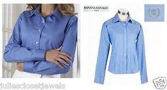 *LOT* Women's Dress Shirts Banana Republic + Izod Button Down Slim Fitted Woven Oxford S (0-2) Light Blue *FREE S/H*