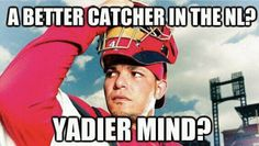 Yadier Molina may not be Albert Pujols, but the Cardinals' All-Star catcher is definitely the man behind the plate. Cardinals Baseball, St Louis Cardinals, Backyard Baseball, St Louis Baseball, Albert Pujols, Yadier Molina, Best Fan, Baseball Players, All Star