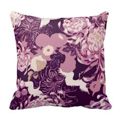Beautiful Vintage Pink purple flowers and birds throw pillow by PLdesign on #Zazzle #cushions #pillows #throwpilows