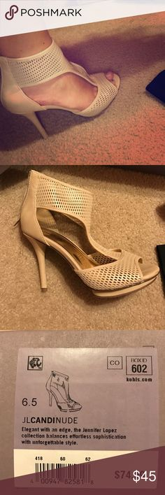 Jennifer Lopez Tan Heels J-Lo Candi Nude heels. worn once for a special event. Comfy. Normally wear a 7-71/2 but the 6.5 fits perfectly. No scruffs. No dirt. Perfect condition. Jennifer Lopez Shoes Heels