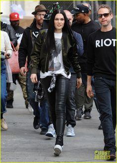 "Jessie J street style on the set of ""Masterpiece."""