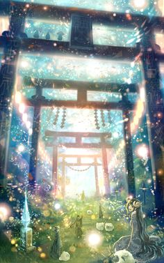 Beautiful anime girl in a glowing garden