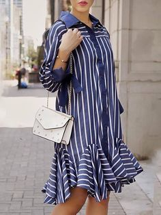 Shop Stripe Button Through Pep Hem Shirt Dress right now, get great deals at Divasruby Casual Outfits, Casual Dresses, Casual Shirt, Mermaid Prom Dresses Lace, Pencil Skirt Outfits, Mode Hijab, African Dress, Striped Dress, Blouse Designs