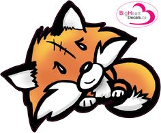 Foxy Pup Lil' Sister from Big Heart Decals Inc. Made in Canada. Fabric stickers or wall decals for nursery or kids playrooms. Sticks on walls, windows and flat surfaces.  Movable, removable, no residue.  Price: $18.00 - 11.25 x 9 inches