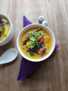 Thai inspired coconut quinoa soup: ginger, turmeric, curry powder, dried chili, firm tofu, olive oil, carrots, red cabbage, light coconut milk, quinoa, spinach, lime, basil