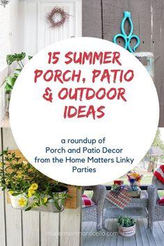 15 Summer Porch, Patio and Outdoor Ideas to create and enjoy this summer. Summer Porch, Outdoor Spaces, Outdoor Ideas, Home Repair, Patio, Create, Modern, Porch Ideas, Decor
