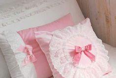 pillows, ruffles, pink, ribbons