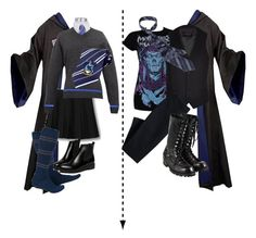 """""""What I would do to the Ravenclaw uniform"""" by leopardwolf ❤ liked on Polyvore featuring WithChic, River Island, Canvas by Lands' End, Comme des Garçons, harrypotter, hogwarts, ravenclaw and RavenclawPride"""