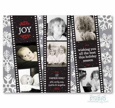 Film Strip Photo Collage with Vintage Snowflakes gray aqua blue red or green - PRINTABLE DIY Digital or Printed Design (optional). $19.00, via Etsy.