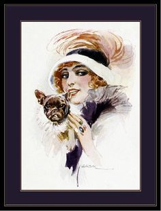 English Print French Bulldog Puppy Dog & Lady #2 Art Picture Vintage Poster