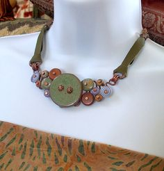 Button Necklace  Sage Lilac and Cinnamon with by lunedesigns, $112.00