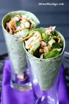 """Thai Chicken Salad Cones - These are perfect for your grown-up lunchbox! Use of rotisserie chicken makes them come together in just minutes. Lean protein, lots of crunch and textures, and a lite toasted sesame dressing all wrapped in a garden herb spinach tortilla will satisfy your craving for something """"different"""" for lunch without weighing you down! Step-by-step photo recipe tutorial."""