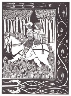 Vintage Librarian Illustration by Aubrey Beardsley in Le Morte D'Arthur by Thomas Malory, 1893-1894 The Collected Drawings of Aubrey Beardsley, 1967