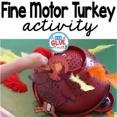 Fine Motor Turkey is the perfect, hands-on activity for your toddler, preschool, or kindergarten students to complete around Thanksgiving. Thanksgiving Preschool, Fall Preschool, Preschool Learning, Preschool Activities, Motor Activities, Toddler Preschool, November Preschool Themes, Turkey Crafts Preschool, Teaching