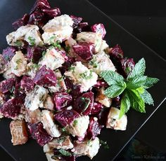 A warm, roast beetroot and potato salad with fresh mint and a sour cream, horse radish dressing. Great as a main or served with beef.