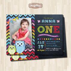 Owls Birthday Chalkboard Invitation. Rainbow by AngelinaWorks, $15.00