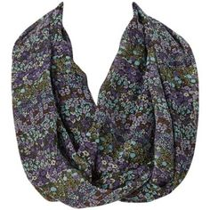 Amtal Blue & Gray Floral Infinity Scarf