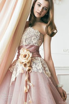 Dusty pink gown with lace bodice, accented with pink pleated cummerbund, Jill Stuart