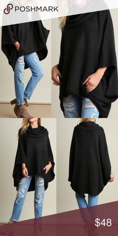Poncho Style Cowl Neck Sweater This adorable fun and comfy cowl neck poncho style sweater is perfect when you want to be comfy yet look chic! Available in oatmeal and charcoal! (Model is 5'7 wearing a small) Sweaters Shrugs & Ponchos