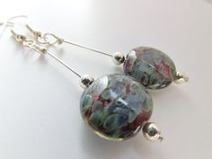 Murano Glass Coin Beads Dark Blue and Red  by AccessoireJewelry, $16.00. Beautiful beaded earrings.