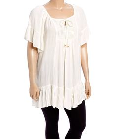Love this Ivory Flutter-Sleeve Peasant Top - Plus on #zulily! #zulilyfinds