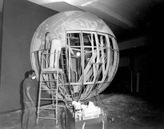 Here is an image of the moon model being dismantled. © The Field Museum, GN84925_8, Photographer Ron Testa. Dismantling Hall 35 Moon Model in Geology Hall. Workers include Nancy Hendriksen, Tom Moon, Dion Miller and Terry Gibson. 6x7cm negative Ron Testa