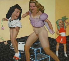 """Pat Andrea, And one is on roller skates, 2012, Oil and casein on canvas, 70¾"""" x 63"""" #art #bdg"""