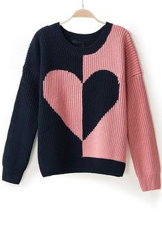 Shop ROMWE Heart Shaped Color Block Ribbed Pink Jumper at ROMWE, discover more fashion styles online. Heart Sweater, Loose Sweater, Long Sleeve Sweater, Black Peach, Navy Pink, Cheap Sweaters, Sweaters For Women, Women's Sweaters, Pink Jumper