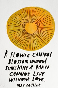 A flower cannot blossom without sunshine and man cannot live without love.