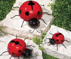 Great Set 3 Metal Ladybugs Ladybug Garden Decor Or Indoor Outdoor Wall Art Lady  Bug