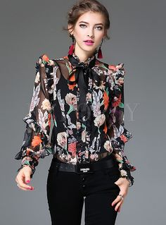 Cheap blouse fashion, Buy Quality fashion blouses directly from China shirt blouse Suppliers: XL!Top Quality New Fashion Blouses 2017 Spring Summer Women Bow Collar Elegant Print Long Sleeve Silk Chiffon Shirt Blouses OL Blouse Styles, Blouse Designs, Casual Outfits, Fashion Outfits, Fashion Blouses, Collar Blouse, Fashion Fabric, Mode Style, Blouses For Women