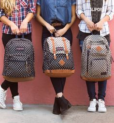 Follow the dotted line to our favorite gift-worthy picks, the Twiggy Dot collection. Featuring the Baughman backpack with double leather straps, the Right Pack Expressions with a leather bottom and iconic JanSport silhouette, the Houston with two exterior pockets, and other styles. Shop our top three favorite gift-worthy polka dot backpacks, plus more spotted satchels and accessories on JanSport.com.