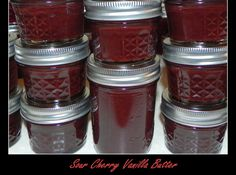 Sour Cherry Vanilla Butter -- made in the crockpot and just like apple butter but made with cherries instead. Cherry Butter Recipe, Cherry Recipes, Jelly Recipes, Apple Butter, Apple Recipes, Sour Cherry Jam, Salsa Dulce, Jam And Jelly, Plum Jelly