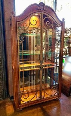 Beautiful Glass And Scrolled Iron Doors Henredon Curio