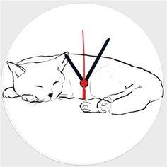 uyuyan kedi Kendin Tasarla - Duvar Saati 27cm