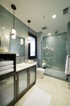 Bathroom - contemporary - bathroom - Ocean Grey glass subway tile.  3x6 on walls and 4x12 in shower: Found at http://www.subwaytileoutlet.com/