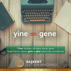 """🔄⠀ #SıkKarıştırılanlar⠀ """"Gene"""" mi, """"gine"""" mi, """"yine"""" mi❓ Turkish Language, Did You Know, Notes, Teacher, Report Cards"""