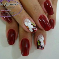 Simple Acrylic Nails, Gel Acrylic Nails, Gel Nail Art, Nails & Co, Toe Nails, Magic Nails, Girls Nails, Finger, Flower Nails